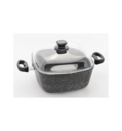 Top Alulit zapékací hrnec Granit na indukci, černý, 26 x 26 x 11 cm, 5,1 l
