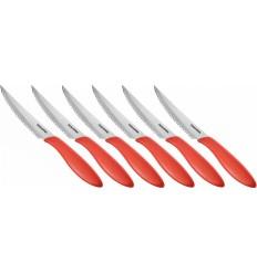 Nůž steakový Tescoma PRESTO 12 cm, 6 ks, červená
