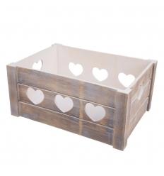 Dřevěná bedýnka srdce - 31x21x14 cm