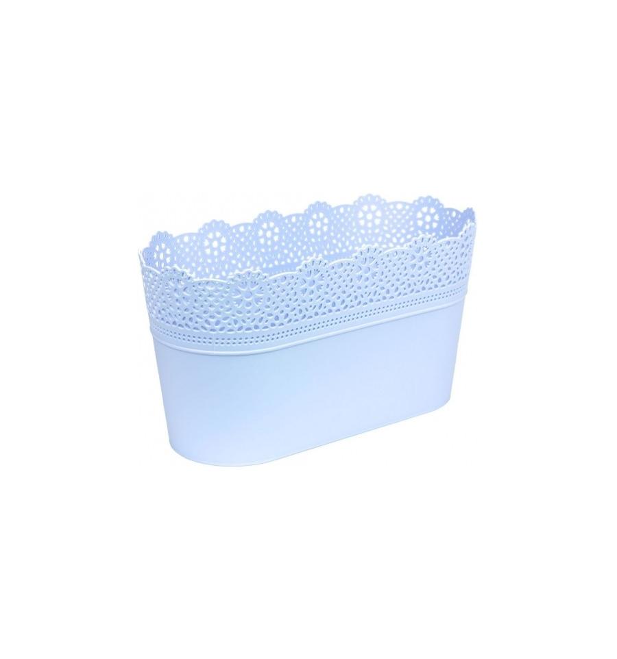 Plastový truhlík světle modry, obal na květiny s krajkou LACE