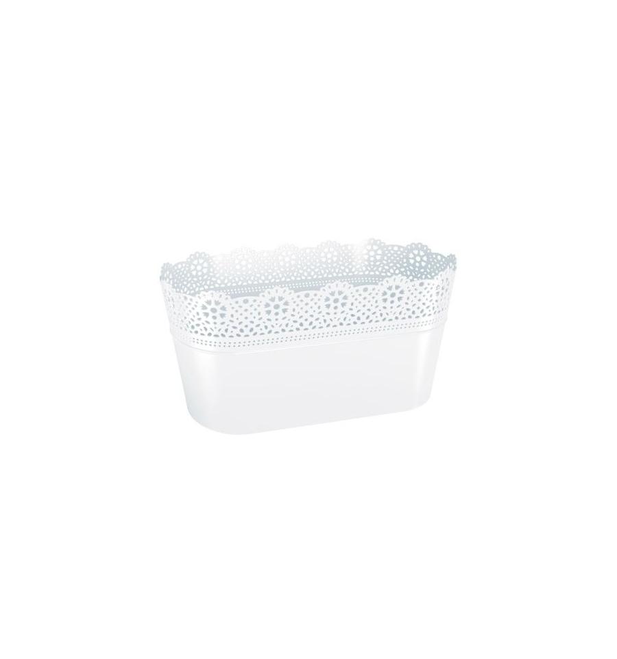 Plastový truhlík bílý, obal na květiny s krajkou LACE