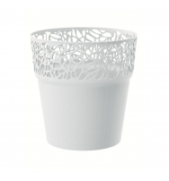 Květináč s krajkou bílý 14,5 cm