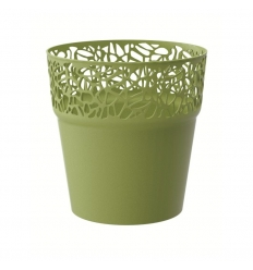 Květináč s krajkou oliva 14,5 cm