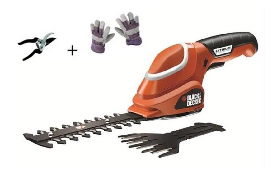 Nůžky na trávu Black-Decker GSL700 KIT, Aku + rukavice a nůžky